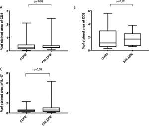 (A), CD4+ T; (B), CD8+ T; (C), IL-17 expression in healed and persistent lesions 2 months after treatment.