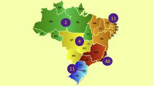 Geographical distribution of Brazilian experts participating in the Brazilian Consensus on Psoriasis 2020.