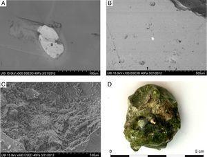 A) Imagen MEB-BSE de la muestra de masa vítrea MO-2 mostrando una impureza que ha presentado altas concentraciones de plomo y zircón. B) Imagen MEB-BSE de la muestra de frita MO-5 mostrando una impureza que ha presentado altas concentraciones de plomo. C) Imagen MEB-SE de la muestra MO-13 mostrando cristales de óxido de calcio utilizado como estabilizante deficientemente incorporado en el vidrio. D) Muestra MO-5 en la que se aprecia el estabilizante fundido deficientemente en la masa vítrea.