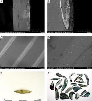 A y B) Imagen MEB-BSE de la muestra MO-80 mostrando una decoración con hilos o cordones de vidrio lattimo o blanco opaco. C) Imagen MEB-BSE de la muestra MO-81 con una decoración con hilos o cordones de vidrio lattimo o blanco opaco. D) Imagen MEB-BSE de la muestra MO-81 en la que se pueden observar precipitados de estaño sobre la decoración de vidrio lattimo. E) Elemento tecnológico (MO-12). F) Elementos tecnológicos resultado del tajo con unas tijeras de corte recto.