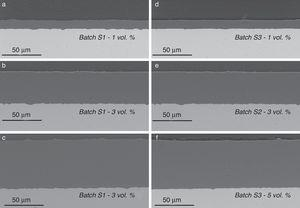 Characteristic cross sections of the sintered specimens. Specimens fabricated from suspensions with different solids loadings of Al2O3. Two different batches are compared for each solids loading. Low magnification SEM micrographs of polished sections. (a–b) Solid loading 1vol% Al2O3. (c–d) Solid loading 3vol% Al2O3. (e–f). Solid loading 5vol% Al2O3.