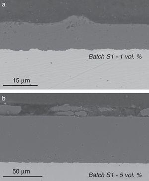 Cross sections of sintered specimens showing the characteristic defects found. SEM micrographs of polished sections. (a) Protruding volume. Specimen fabricated using a solid loading 1vol% Al2O3. (b) Detached volumes. Specimen fabricated using a solid loading 5vol% Al2O3.