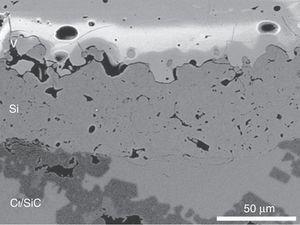 Detalle de la intercara Si-Cf/SiC para el recubrimiento V en la que se puede observar la unión química del Si con el sustrato y la presencia de grietas en la intercara Si-V.