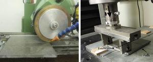Cortadora de disco con la que se realizaron las entallas (izquierda) y dispositivo utilizado para realizar la fractura de las piezas (derecha).