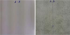 Comportamiento en el corte para la pieza AZ (izquierda) y POR-B (derecha). Profundidad de entalla 0,2mm.