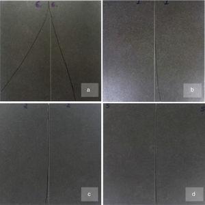 Comportamiento en el corte para la pieza POR-M con diferentes profundidades de entalla. a) 0,2mm; b) 0,25mm; c) 0,3mm y d) 0,4mm.