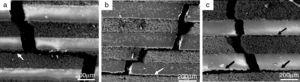 SEM photographs of crack propagating paths of the composites after bending test (a) P10, (b) P20 and (c) P30, obvious delaminated layers were observed.
