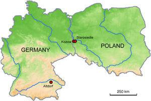Location of the archaeological sites at Kozów, Starosiedle and Altdorf.
