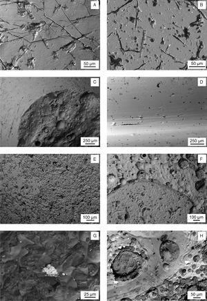 Backscattered electron SEM micrographs. (A) Yellowish area of sample KO-1. (B) White area of sample KO-2. White small particles are SnO2 inclusions. (C) Border between the black surface (left up) and the area under the lost decoration (right bottom) of sample KO-3. (D) Surface of Sample KO-4. (E) Interface area between the blue surface (right up) and the white surface (left bottom) of sample ST-1. (F) Interface area between the white surface with SnO2 inclusions (up) and the blue surface (bottom) of sample AL-1. (G) Yellow surface of sample AL-2 with an inclusion of lead and antimony oxides. (H) Yellow surface of sample AL-3 with inclusions of lead and antimony oxides, bubbles, pits and craters.