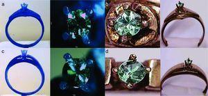 Fotografías de las piezas fundidas: Modelos en cera (a y c), anillos fabricados implementando los moldes de sílice/yeso (b) y revestimiento comercial Diamante Kerr® (d).