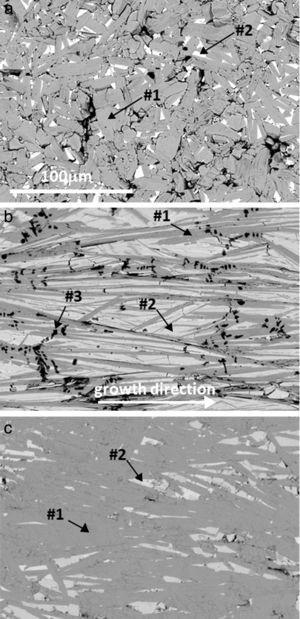 Typical FESEM (backscattered electrons) micrographs of Bi–AE–Co–O (AE=Ca) longitudinal polished sections: (a) solid state sintered, (b) LFZ as-grown (the growth direction is specified by an arrow), and (c) annealed laser-textured. Different contrasts are #1: grey one, associated to the thermoelectric Bi2Ca2Co1.7Ox phase; #2: light grey, Bi6Ca4O13; and #3: black, Co-oxide.
