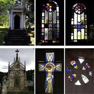 (a) Stained-glass windows in the Assis Chermont mausoleum in the Nossa Senhora da Soledade cemetery&#59; (b) Stained-glass windows in the Britto Pontes mausoleum in the Santa Izabel cemetery&#59; both in Belém do Pará (Brazil).