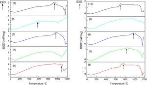 Graphs of differential scanning calorimetry (DSC) technique for samples 1–10.