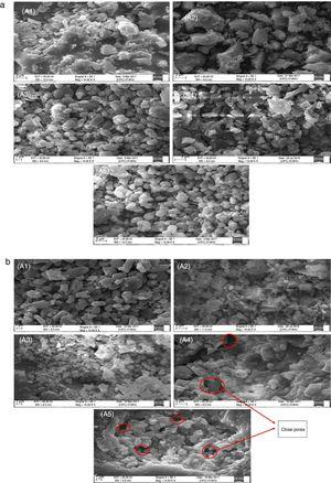 SEM analysis of ceramic porcelain composition replacing alumina with silica in wt.% sintered on different temperature, (a) at 1250°C and (b) at 1350°C (where A1=0, A2=5, A3=10, A4=15 and A5=20wt.% SiO2).