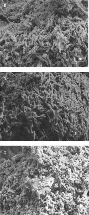 Microstructure of kaolin and aluminium slag used&#59; (a) DD1, (b) DD3 and (c) aluminium slag.