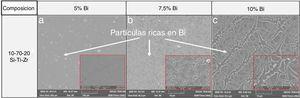 Micrografías (MEB) de los recubrimientos para la composición 10-70-20 y (5-7,5 y 10% de Bi).
