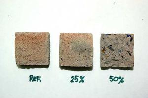 Alteración cromática en las probetas tras el proceso de calentamiento a 800°C.