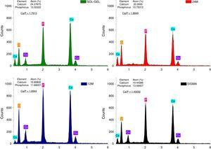 EDS analysis of β-TCP powders allowed to corroborate the Ca/P ratio in the different methods synthesis, sol–gel, mechanosynthesis and sigma reagent.
