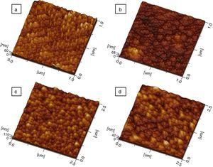 3D AFM micrographs of Ce1−xSmxO2−δ thin films (synthesized at 450°C and sintered at 500°C for 2h): (a) x=0, (b) x=0.15, (c) x=0.20, and (d) x=0.30.
