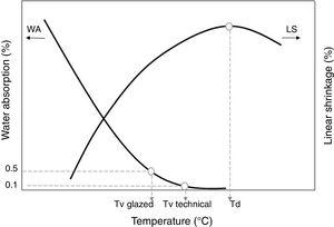 Representation of typical gresification curve of a porcelain tile, with indications of the maximum densification (Td) and vitrification (Tv) temperatures.