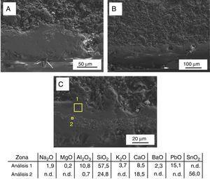 Micrografías MEBEC y microanálisis EDS de la muestra SG-1 en sección (% en peso).n.d.: no detectado.