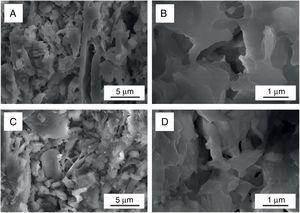 Micrografías MEBEC que ilustran el estado de sinterizado. A-B)Muestra SG-5 (grano fino). C-D)Muestra SG-26 (grano grueso).
