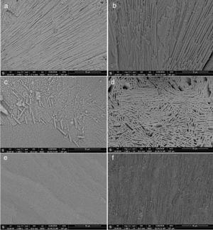 The SEM micrographs of the glass-ceramic samples for LS: (a), LG (b), LGy (c), LGl (d), LGn (e) and LGc (f).