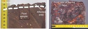 Left: detail of the affected area on the hot face of a refractory brick collected in this work (cut slide). The dotted line separates the affected area from the rest of the refractory brick (unaffected by the gas), and the final sample for microstructural analysis is shown. Right: Frontal view of the same refractory brick.