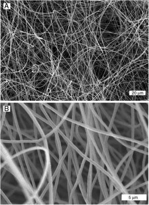 Imágenes SEM de fibras de PAN fabricadas por electro-hilado, usando un colector plano: A) y B) suspensión del 8% PAN-DMF.