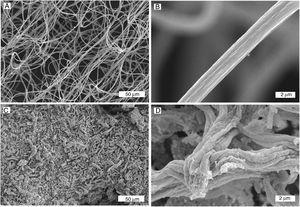 Imágenes SEM de fibras de CGO producidas con inyector múltiple. A) y B) fibras sin calcinar a bajos y altos aumentos. C) y D) fibras calcinadas a 900°C a bajos y altos aumentos.