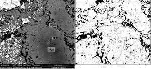 Representative BSE image of the Mg–Cr–O ef refractory (left) and the image processed by ImageJ (right). Pores in black. Mgs: magnesia; EMC: electrofused magnesia–chromite; Chr: Chromite.