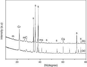 XRD pattern of samples after corrosion for 240h with steam and ash (a) S; (b) SA.