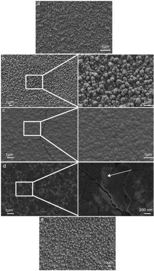 Typical morphology of FTO substrate (a), ZnO electrodeposited from aqueous electrolyte (b and inset), ZnO electrodeposited from organic electrolyte (c and inset), rGO-modified ZnO layer (d and inset) and typical morphology of Cu2O (e).