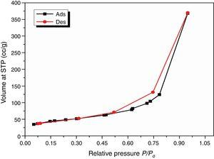 Nitrogen adsorption isotherm for the synthesized NS sample at 0°C.