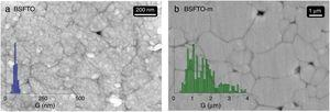 Main microstructural features of the co-doped samples: FESEM image and grain size distribution of (a) the BSFTO conventional sample sintered at 925°C/8h and (b) the BSFTO-m sample sintered at 1000°C/2h.