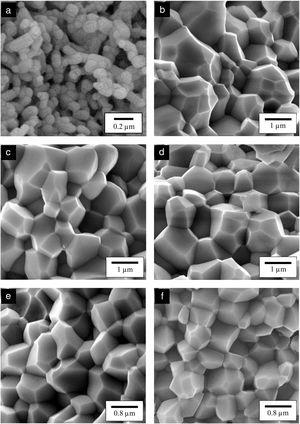 FESEM images of the fractured surface of (a) HA, (b) 0.5CHA, (c) 1CHA, (d) 2CHA, (e) 3CHA and (f) 4CHA.