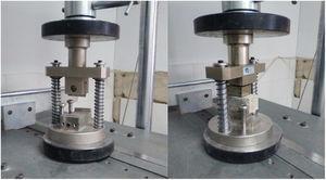Dispositivos de ensayo a flexión (izquierda) y compresión (derecha).