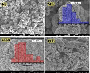 SEM images of the anatase samples at 50,000× (inserted figures corresponding to particle size distribution of the samples SDS and CTAB).