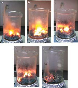 Digital images of the combustion reactions: (a) CoCr2O4, (b) Co0.8Mg0.2Cr2O4, (c) Co0.5Mg0.5Cr2O4, (d) Co0.2Mg0.8Cr2O4, (e) MgCr2O4.