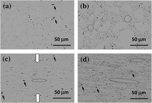 Backscattered scanning electron (BSE) microscopy images from the composites i.p. (a, b) and c.s. (c, d) polished surfaces: (a and c) 1vol%, (b and d) 4vol% BNNS. Compression axis during SPS is indicated in (c) by arrows.