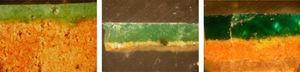 Microfotografías de estratigrafías de cerámicas de color verde con distintos porcentajes de SnO2 (8.76%, 3,44% y ≈ 1%).
