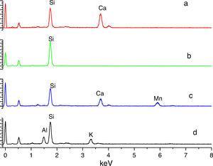 Análisis químico de inclusiones e interfases realizados por EDS.