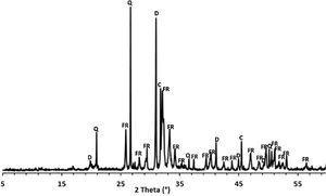 XRD diffraction patterns of sludge. Q: quartz; FR: francolite; C: calcite; D: dolomite.