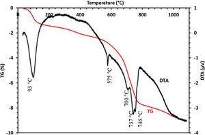 TG-DTA analysis of sludge.