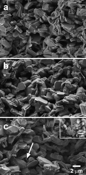 Representative SEM micrographs performed in fractured surfaces of Ca3Co4O9+x wt.% TiC samples, for x=0.00 (a); 0.25 (b); and 0.75 (c). The arrow indicates a TiC agglomerate, with a closer view in the insert, for clarity.