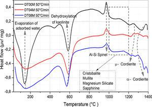 DTA curves of DT00M, DT04M, and DT08M powders at heating rate of 50°C/min.