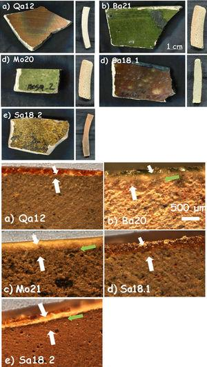 'Brownspeckled'/green samples and corresponding cross sections for Qa12, Ba21a, Mo20, Sa18.1 and Sa18.2 shards (see Table 1 for details).
