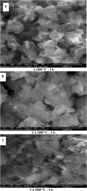 SEM images for CA phase calcined at 1000°C for 1, 2 and 4h in (a, b and c) images respectively.