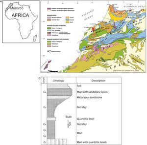 (a) Geographic localization of Ouled Sidi Ali Ben Youssef Area on the simplified geological map of Morocco [29] and (b) Synthetic lithostratigraphic log of the studied sector and sampling level (C1–C6).