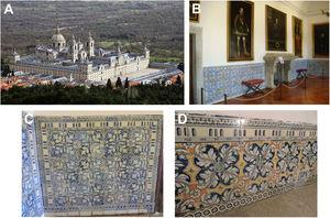 (A) View of the Royal Monastery of El Escorial. (B) Baseboard of tiles in a room of the Habsburg Palace. (C) Panel with tiles brush-painted in cobalt blue. (D) Panel with polychrome decorated tiles.